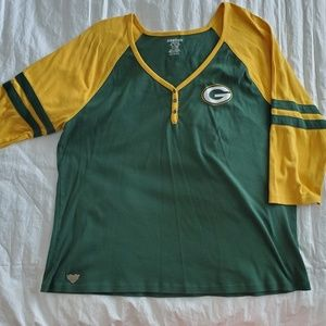 Green Bay Packers Henly 3/4 Sleeve Plus Size 3xl